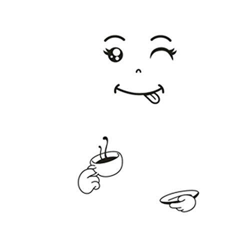 GHJL Lächeln Gesicht Wandaufkleber Glückliches Köstliches Gesicht Kühlschrank Aufkleber Lecker Für Lebensmittel Möbel Dekoration Kunst Poster DIY PVC