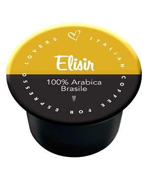 Italian Coffee - Elisir 100% Arabica Brasile - Lote de 100 cápsulas de café compatibles con las cafeteras Lavazza Blue e In Black de Nims