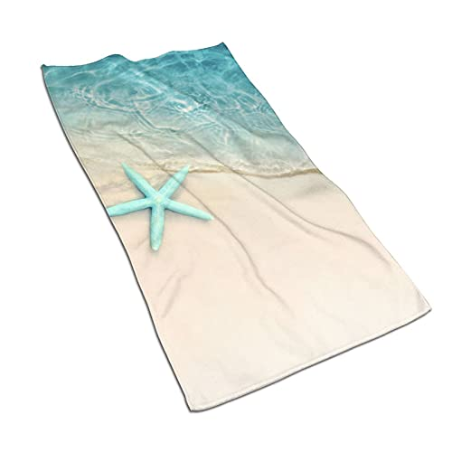 Starfish on The Beach Hand Towel Ultra Soft Absorbent Fingertip Towels Large Decorative Bath Towels Multipurpose for Kitchen Gym Yoga Spa 27.5'x15.7'