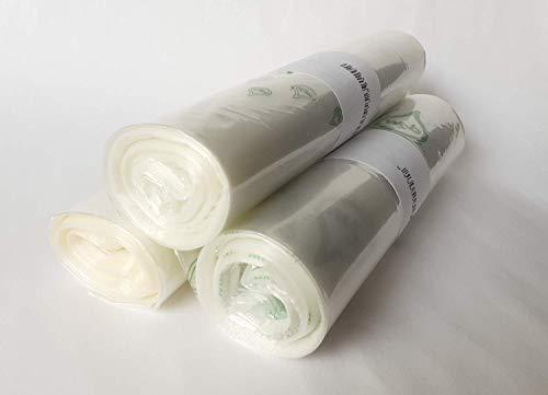 PLASBEL Bolsas biodegradables transparentes, Pack de 3 Rollos, 60x90cm (24x36 pulgadas), bolsas multiusos, capacidad 50 litros, ecológicas, fuertes y con sistema antigoteo, uso en congelación.