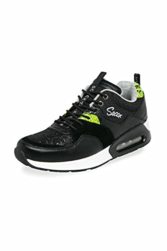 SOCCX Damen Sneaker im Materialmix mit Keilabsatz