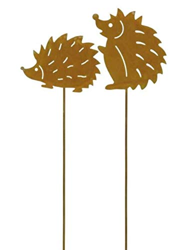 2 Rostoptik Igel am Stab 32 cm Herbst Gartenstecker Deko