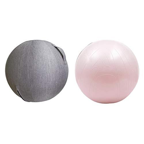 HomeDecTime Yoga Ball Fitness Ball, Übungsball Gymnastikball, Pilates Ball, Sportball Sitzball + Bezug für Fitnessstudio, Pilates, Übungen