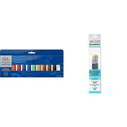 Winsor & Newton - Juego de tubos de pintura para acuarela (8 ml, 12 unidades) + Pinceles de Acuarela, Madera, Multicolor, 7 x 1 x 4.3 cm, 6 Unidades