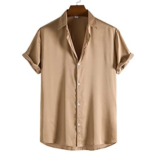 SSBZYES Camisas De Hombre Camisas De Verano De Manga Corta para Hombre Camisas De Color Liso para Hombre Camisas De Champán Tops De Verano para Hombre