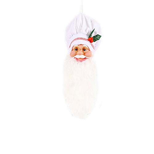 Christmas Decoration, Funny Santa Claus Tree Topper Chef Hat Old Man Head Pendant for Home Supplies (White, 44cm15cm)
