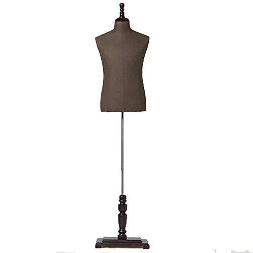 Masculino Maniqui Costura Modista Busto Cuerpo de Torso de Maniquí Masculino de Altura Ajustable, con Brazos de Madera y Base Cuadrada, Maniquí de Torso Superior Masculino, para Exhibición de Trajes d
