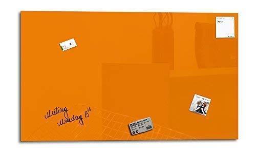 Smart Glass Board ® Pizarra de cristal magnética/Tablero de notas magnético en vidrio + 3 Imanes SuperDym + 1 Marcador + 1 Borrador, 100 x 60 cm, Naranja