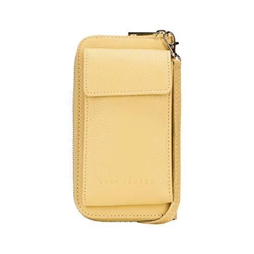 Lara Laurén City Wallet cb bag aus hochwertigem Leder mit verstellbarem langen Tragriemen Maße 19,5 x 11 x 4cm (lemon)
