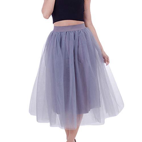 WOZOW Damen Tüllrock Einfarbig Party Karneval Kostüm Elegant Prinzessin Tanzkleid Lange Cosplay Eine Linie Kleider Frauen (65-115,Grau)