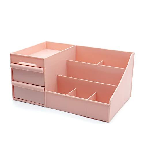 xinlianxin Caja de almacenamiento cosmética Cajón de escritorio de plástico para maquillaje, tocador, cuidado de la piel, organizador de la casa, contenedor de joyas (color rosa claro, tamaño: S)