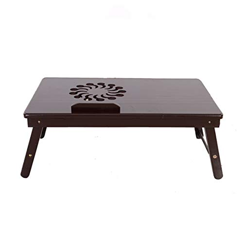 21 x 13' Efficient Portable Home-Use Office-Use Assembled Foldable Bed Desk for Laptop Study Writing, with Fashionable Sunflower Engraving Pattern Adjustable Bamboo Computer Desk Coffee Color