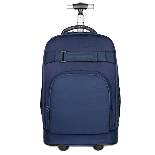 FREETT Men Trolley Suitcase, University Trolley Backpack with Wheeled and Laptop Compartment, Multifunctional Trolley Bag for Student School Boarding, 31 * 21 * 46 cm,Blue