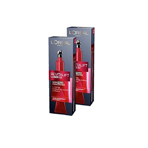 L'Oréal Paris – Revitalift – Laser X3 – Augenpflege Triple Action – Anti-Falten & Multi-Correction Anti-Aging, 2 x 15 ml