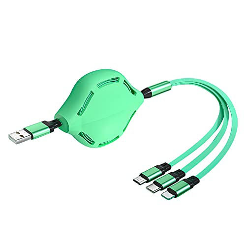 3 in 1 Green USB Cable Type-c 1.1meter/43inch Quick Charger Cable Fast Charging Cord with Three Interfaces Compatible for iOS for Android