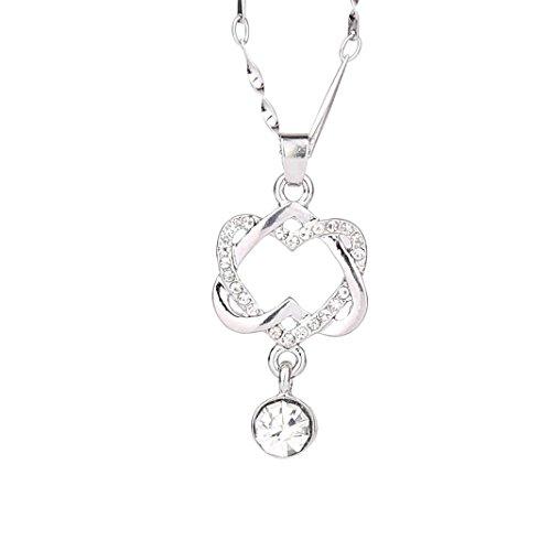 Collar con colgante de corazón doble con diamantes de imitación Mingfa, joyería para mujeres y niñas