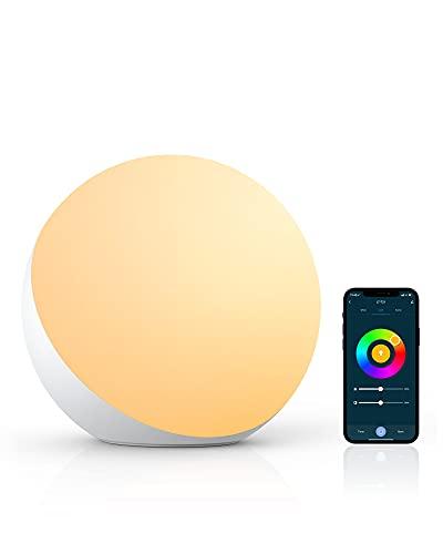 Lampada da Comodino, Lampada da Tavolo Compatibile con Alexa e Google Home, Dimmerabile RGB Cambia Colore e Tunable Luce Notturna per Bambini