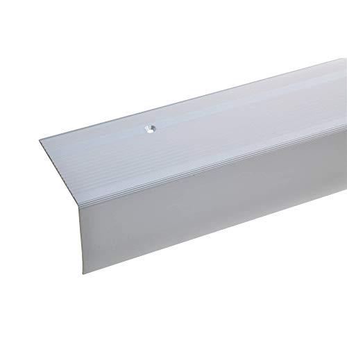acerto 38257 Aluminium Treppenwinkel-Profil - 135cm 55x69mm silber * Rutschhemmend * Robust Leichte Montage Treppenkanten-Profil Treppenstufen-Profil Alu | Gelochtes Stufenkanten-Profil Treppenprofil