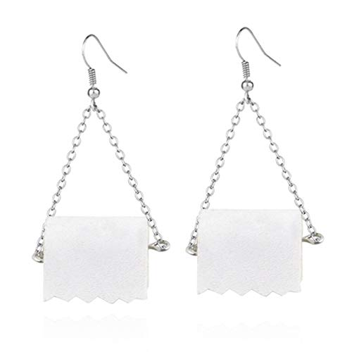 Divertido rollo de acrílico de papel cuelgan pendientes de gota creativos toalla de papel higiénico pendientes para mujer niña personalidad joyería