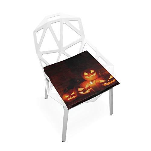 Halloween Geschnitzte Kürbis Kerze Benutzerdefinierte Weiche rutschfeste Quadratische Memory Foam Chair Pads Kissen Sitz Für Home Kitchen Esszimmer Büro Rollstuhl Schreibtisch Innen 16 X 16 Zoll