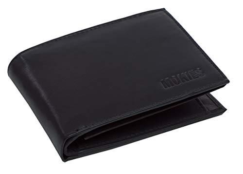 MOKIES Herren Leder Geldbörse - Einführungspreis - 100% Rindleder Echt-Leder - RFID und NFC-Schutz - Querformat - Portemonnaie für Männer