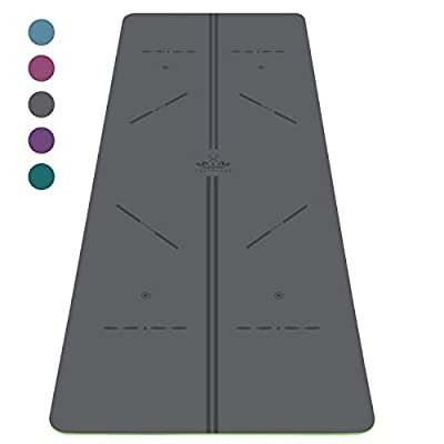 """Heathyoga ProGrip Yoga Mat with Body Alignment Lines Revolutionary Wet-Grip Surface for Hot Yoga Free Carry Bag 72""""X26"""" Thickness 5mm"""