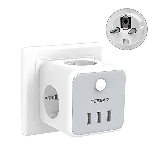 TESSAN Enchufe USB, 6 en 1 Cubo Ladron Enchufes Triple con 3 Puertos USB, Cubo Enchufe Multiple Pared con Interruptor, Cargador USB Compatible con Phone, Pad, Ladron USB para Hogar Oficina