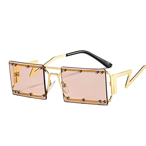 ShZyywrl Gafas De Sol De Moda Unisex Gafas De Sol Clásicas Retro Sin Montura para Mujer, Gafas De Sol Rectangulares Pequeñas De Viaje Vintage para Mujer