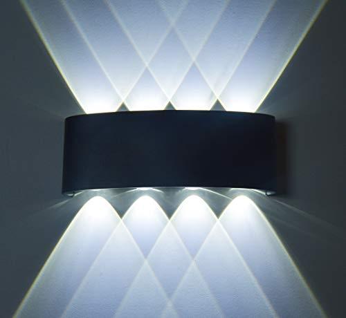 Led Wandleuchten Moderne Aussen/Innen IP65 Wasserdicht Wandbeleuchtung 8W, Up Down Spotlicht,Aluminium (Schwarz-6000K)