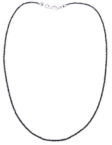 Diamantenkette facettiert mit 925er Silberverschluss, schwarze geschliffene Diamanten