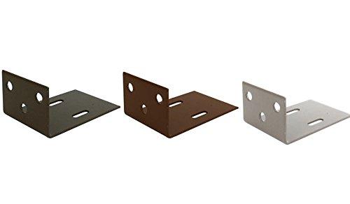 MEIN GARTEN VERSAND Silbergraues WPC Zaun-Pfosten Befestigungs-Set aus 6 Winkeln und 30 Schrauben, bestehend aus verzinkten und beschichteteten Stahl, aus der Sichtschutzzaun-Serie Kiel