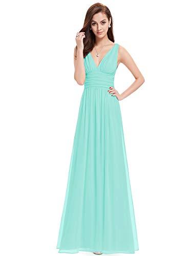 Ever-Pretty Vestito da Cerimonia Donna Linea ad A Stile Impero Chiffon Scollo a V Senza Maniche Acqua 36