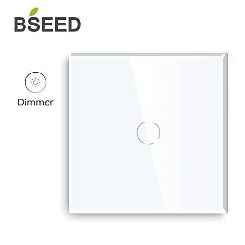 BSEED Dimmer Schalter Led Dimmer Touch Lichtschalter 1-fach 2 weg Glas Touch Schalter Weiß Touchscreen-Funktioniert mit dimmer LED-Glühlampen