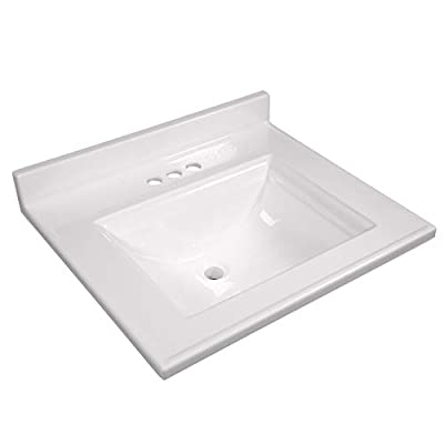 Design House 557629 Camilla Vanity Top with 4 Backsplash, 25 22-inches, Solid White