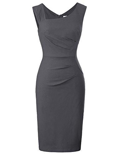Belle Poque elegant Damenkleider etuikleid Bodycon Kleid Retro grau bleistiftkleid Größe M BP302-5