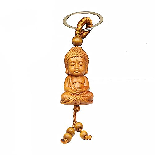 TONGUO Porsperity Success Good Luck Guanyin Buddhism Buddha Engraving Monk Keyfob Car Accessories Keychain Key Ring(A)