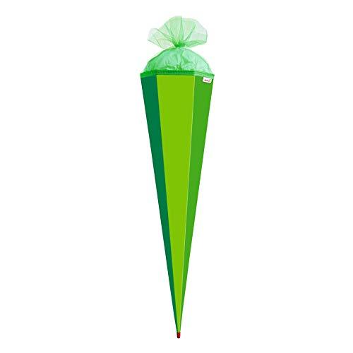 ROTH Bastel-Schultüte groß grün - 85 cm 6-eckig - extra stabil durch Rot(h)-Spitze mit farbigem Tüll-Verschluss