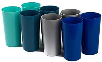 Klickpick Home 28 Ounce - 8 Piece Premium Quality Plastic Beverage Tumblers Reusable Cups Dishwasher Safe BPAFree In 4 Coastal Colours