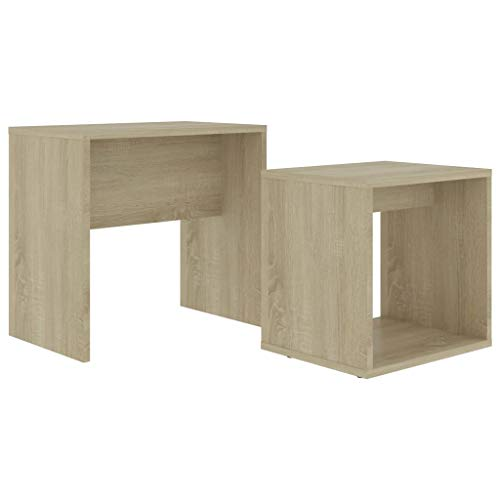 pedkit Coffee Table Set, Nest of 2 Side Tables Bedside Tables Morden Sofa Table, for Living Room, Bedroom or Office Sonoma Oak 48x30x45 cm Chipboard