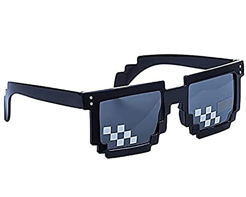 Thug Life Sunglasses, Men Women Glass 8 Bit Pixel Mosaic Glasses Photo Props Unisex Sunglass Toy