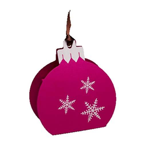 Ballotins à dragées - boites à Chocolat Noël Forme Boule de Noël Couleurs au Choix x6 noël Mariage baptême Communion Anniversaire- (Fuchsia imp. Blanc)