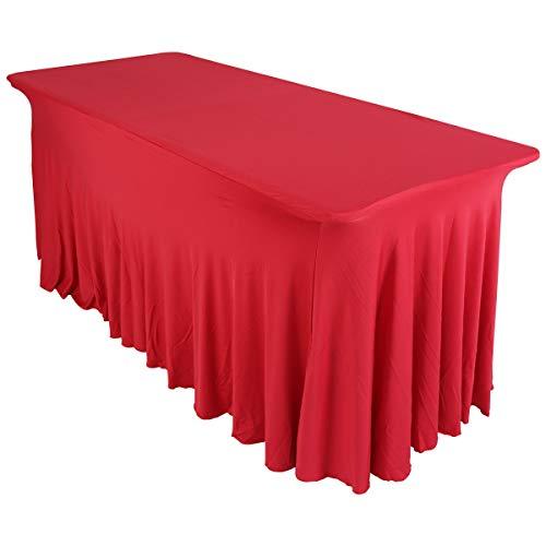 Housse nappe rouge 180 cm pour table de réception buffet traiteur