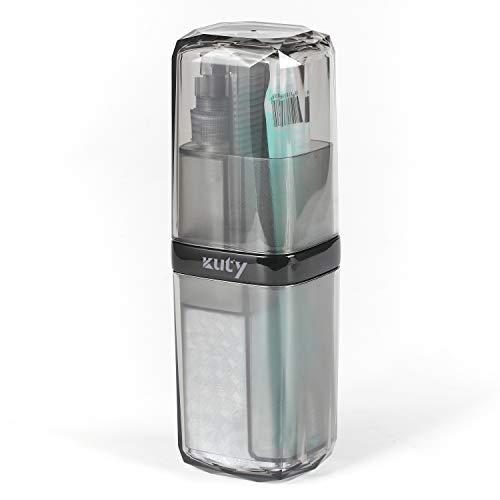 Kuty, Funda de Cepillo Dientes Viaje 7 en 1, con Textura cristalina. Versión Gris. Puede equiparse con loción desinfectante para Manos. Una Persona, una Taza, Más Seguro y Saludable.