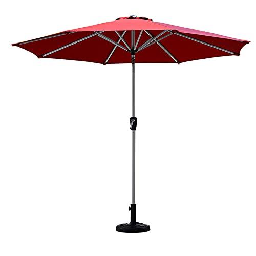 Bewinch Paraguas De Sombrillas De Jardín, Diámetro 270 Cm, Soporte Central De Metal Reforzado con 8 Varillas Resistentes para Parasol Al Aire Libre, Refugio De La Lluvia (con Base),Rojo