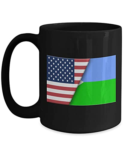 N\A USA Dschibuti Flagge 11oz Black Coffee Mug Immigrant Dual Citizen Geschenk