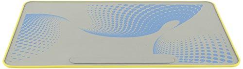 Heathrow Scientific HEA120506 Labormatte, 35 cm x 60 cm, 2 mm hoch, 1 Seite: Gelb; 2 Seite: Blaues Design mit Grauem Hintergrund