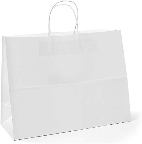 Switory Bolsa de regalo Kraft de 25 piezas, bolsa de papel grande blanca de 40x15x38cm con asas retorcidas para fiesta, embalaje, personalización, transporte, venta al por menor, mercancía, boda