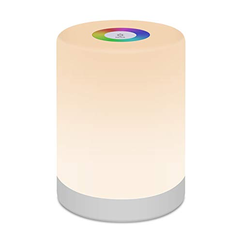 Lámpara de mesa regulable táctil, lámpara de mesita de noche, control táctil, luz LED de noche con cambio de color portátil para sala de estar dormitorio