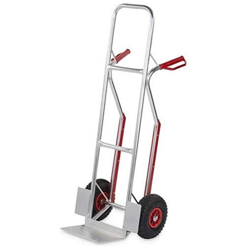 Bakaji - Carro portapaquetes de aluminio - Peso pluma: 7 kg - Carga máxima: 200 kg - Con ruedas neumáticas de 255 mm y base de elevación plegable