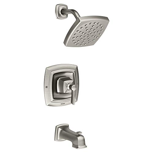 Find Bargain Moen 82922SRN Conway Posi-Temp Tub and Shower with Valve Included, Spot Resist Brushed ...